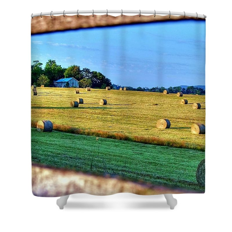 Landscape Shower Curtain featuring the photograph Harvest by Mitch Cat