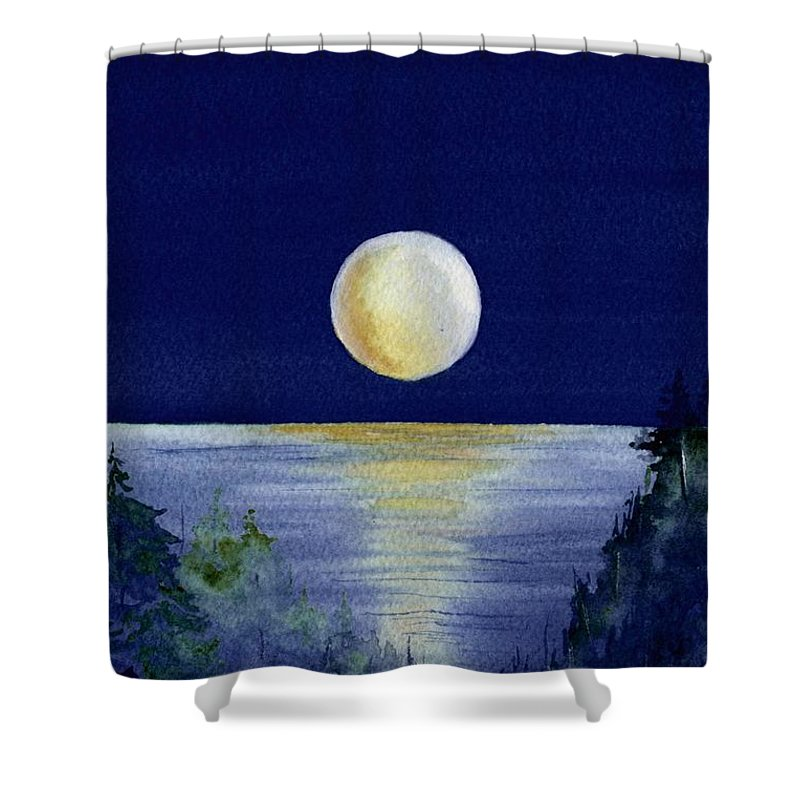 Watercolor Shower Curtain featuring the painting Harvest Moon by Brenda Owen