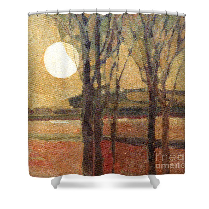 Sunset Shower Curtain featuring the painting Harvest Moon by Donald Maier