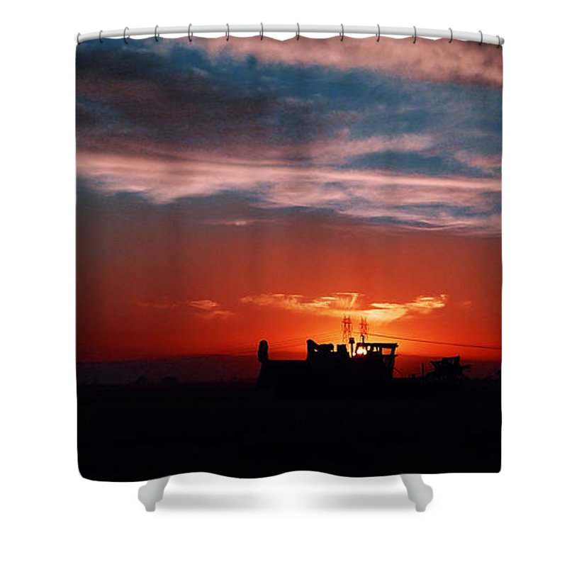 Sunset Shower Curtain featuring the photograph Harvest by Peter Piatt