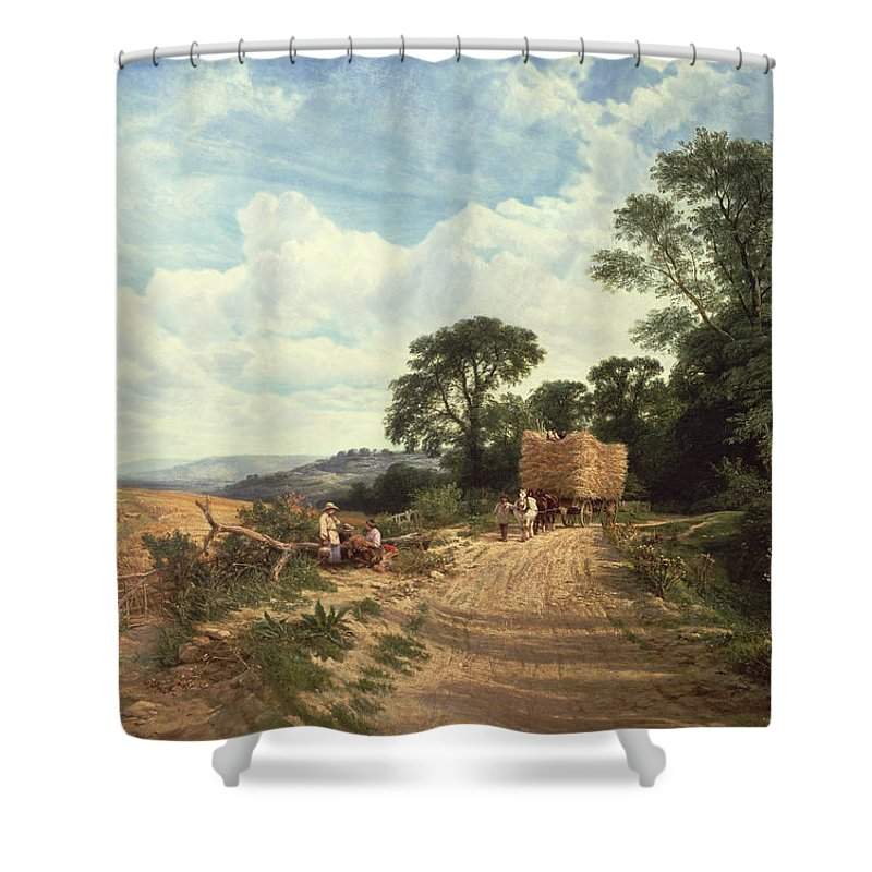 Landscape Shower Curtain featuring the painting Harvest Time by George Vicat Cole