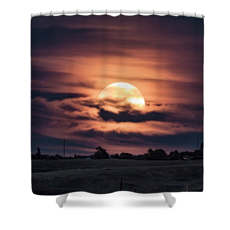 Shower Curtain featuring the photograph Harvestmoon by John Zeising