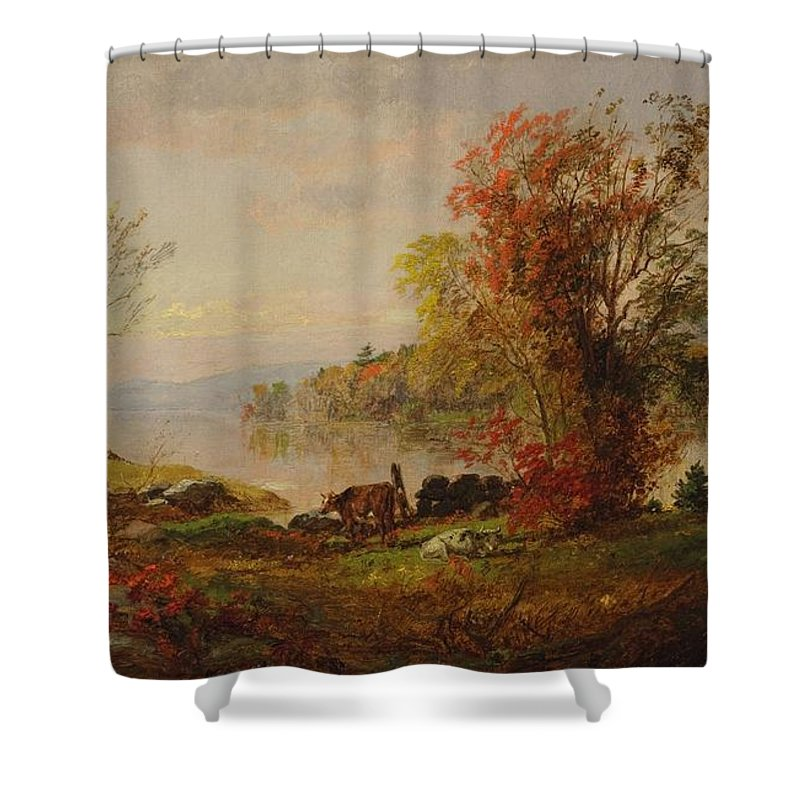 Asper Francis Cropsey American 1823 - 1900 Hastings On The Hudson Shower Curtain featuring the painting Hastings On The Hudson by Francis Cropsey