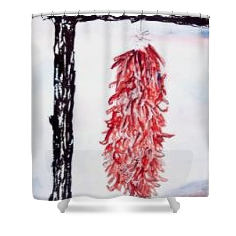 Watercolor Painting Shower Curtain featuring the painting Hatch Texas Chili Pepper Painting by Derek Mccrea