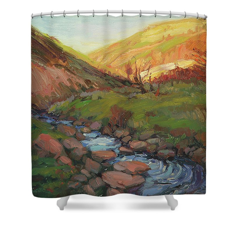 Country Shower Curtain featuring the painting Hatley Gulch by Steve Henderson