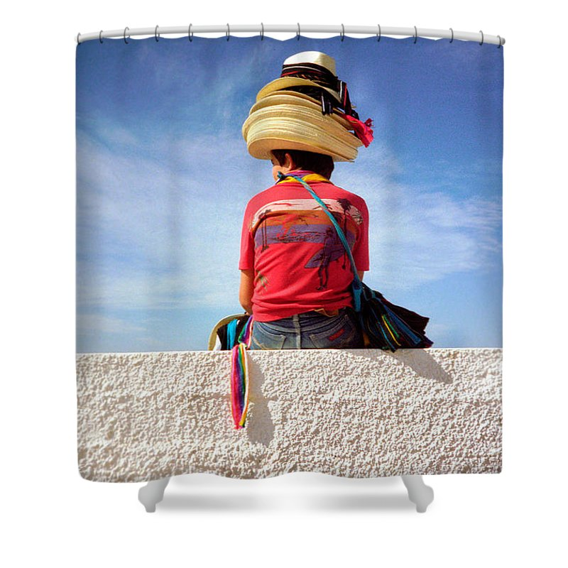 Art Shower Curtain featuring the photograph Hats by Frank DiMarco