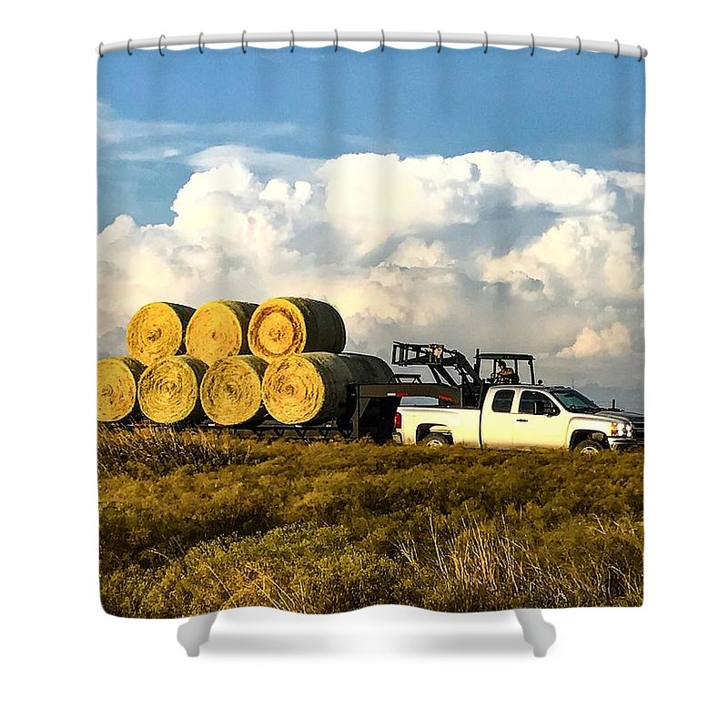 Hay Shower Curtain featuring the photograph Hauling Hay Bales by Jeanie Mann
