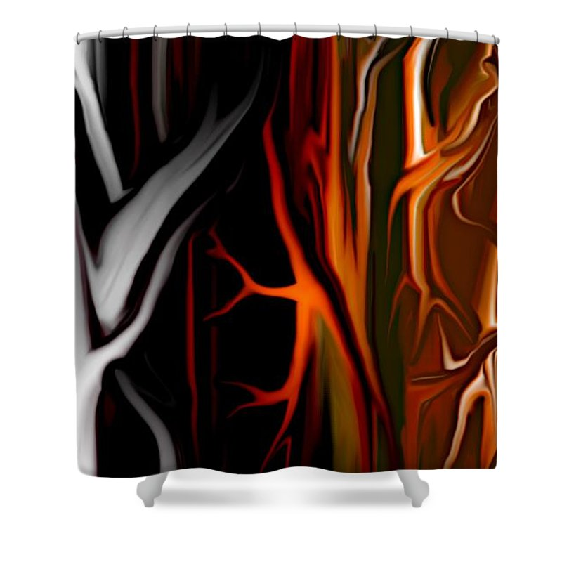 Abstract Digital Painting Shower Curtain featuring the digital art Haunted by David Lane