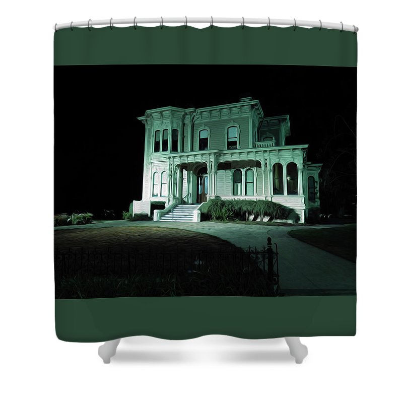 Art Shower Curtain featuring the digital art Haunted Merit by Ryan Fox