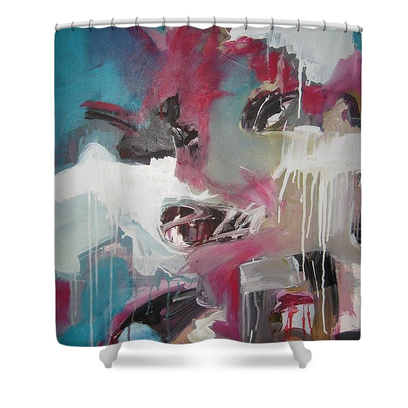 Abstract Red Blue Paintings Shower Curtain featuring the painting Haunted Voice-blue Red Painting by Seon-Jeong Kim