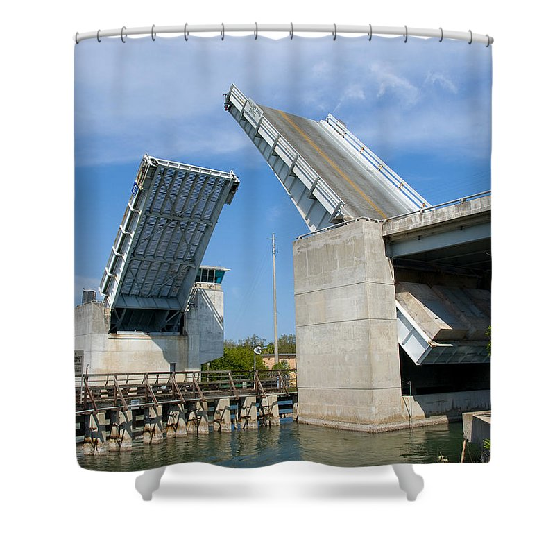 Haulover; Haul; Over; Canal; Waterway; Florida; Drawbridge; Draw; Bridge; Open; Swing; Scene; Scener Shower Curtain featuring the photograph Hauover Canal In Florida by Allan Hughes