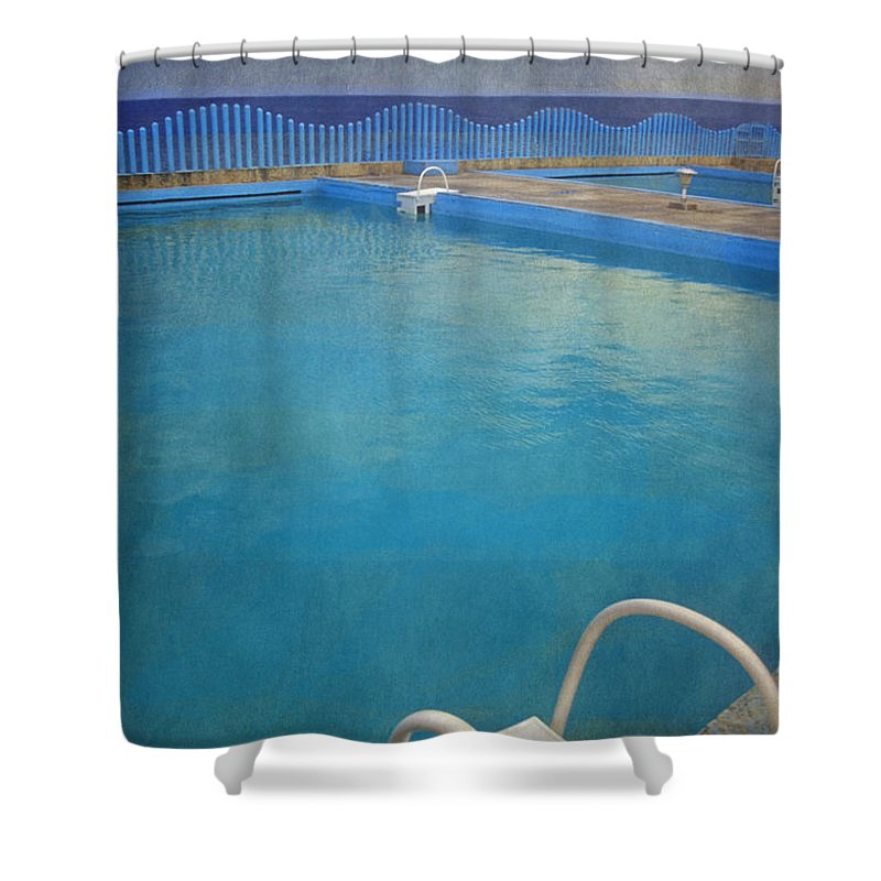 Havana Shower Curtain featuring the photograph Havana Cuba Swimming Pool And Ocean by David Zanzinger