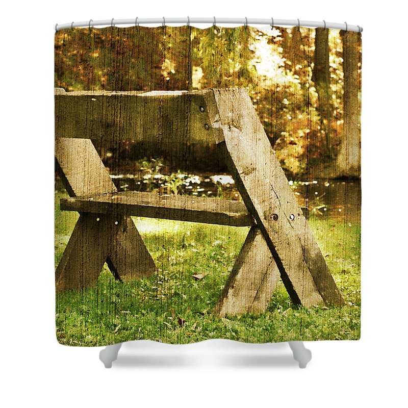 Bench Shower Curtain featuring the photograph Have A Seat by Joel Witmeyer