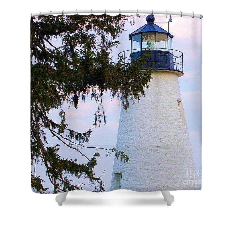 Lighthouse Shower Curtain featuring the photograph Havre De Grace Lighthouse by Debbi Granruth
