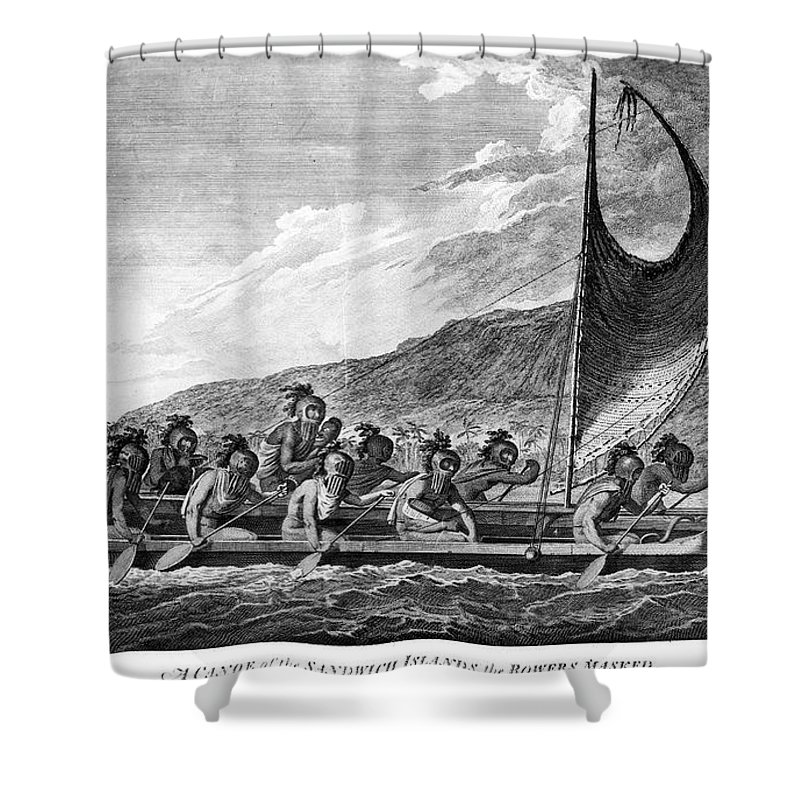 1779 Shower Curtain featuring the photograph Hawaii: Canoe, 1779 by Granger
