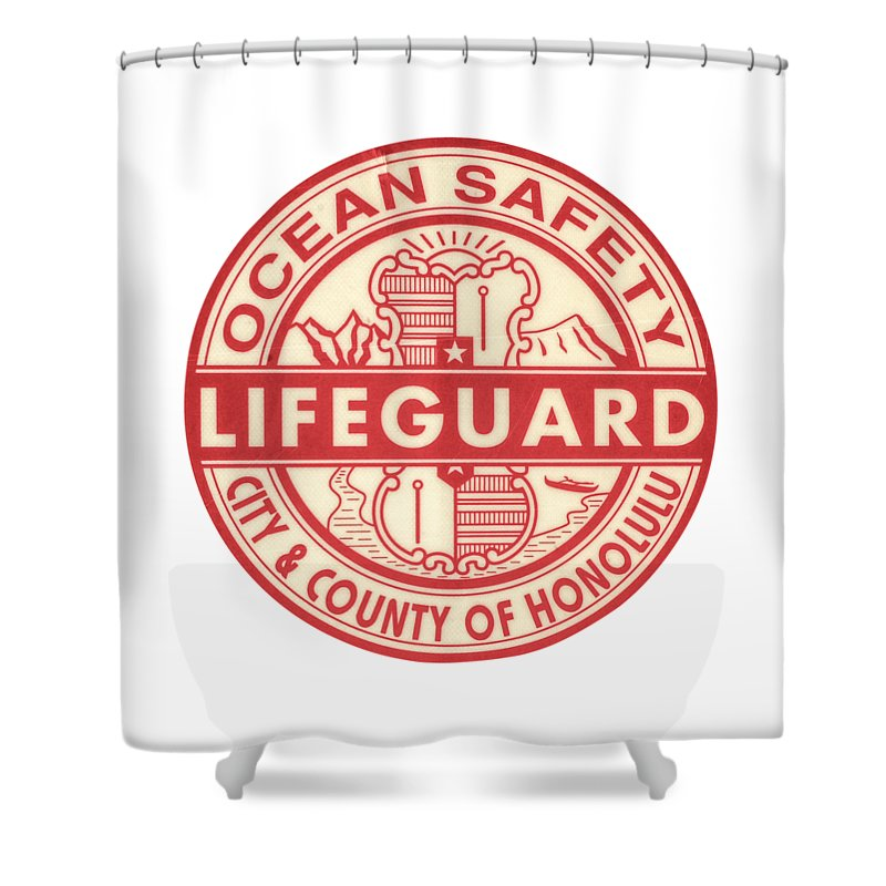 Aged Shower Curtain Featuring The Photograph Hawaii Lifeguard Logo By Mr Doomits
