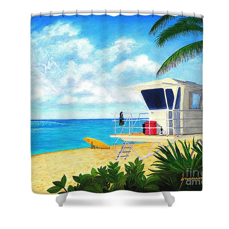 Hawaii Shower Curtain featuring the painting Hawaii North Shore Banzai Pipeline by Jerome Stumphauzer
