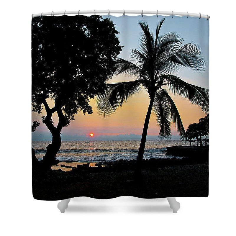 Hawaii Shower Curtain featuring the photograph Hawaiian Big Island Sunset Kailua Kona Big Island Hawaii by Michael Bessler