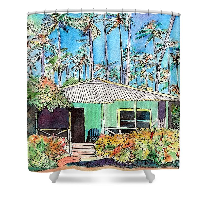 Cottage Shower Curtain featuring the painting Hawaiian Cottage I by Marionette Taboniar