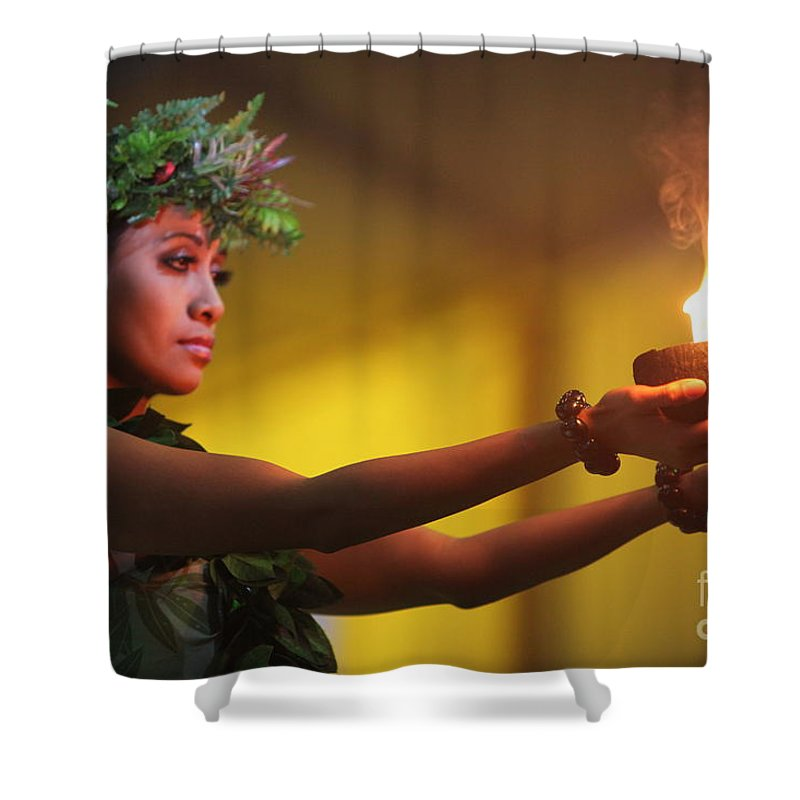 Fire Shower Curtain featuring the photograph Hawaiian Dancer And Firepots by Nadine Rippelmeyer