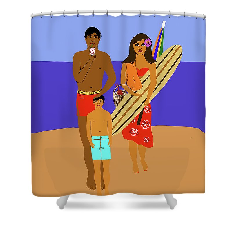 Hawaii Shower Curtain featuring the digital art Hawaiian Family Beach Scene by Maggie McFarland