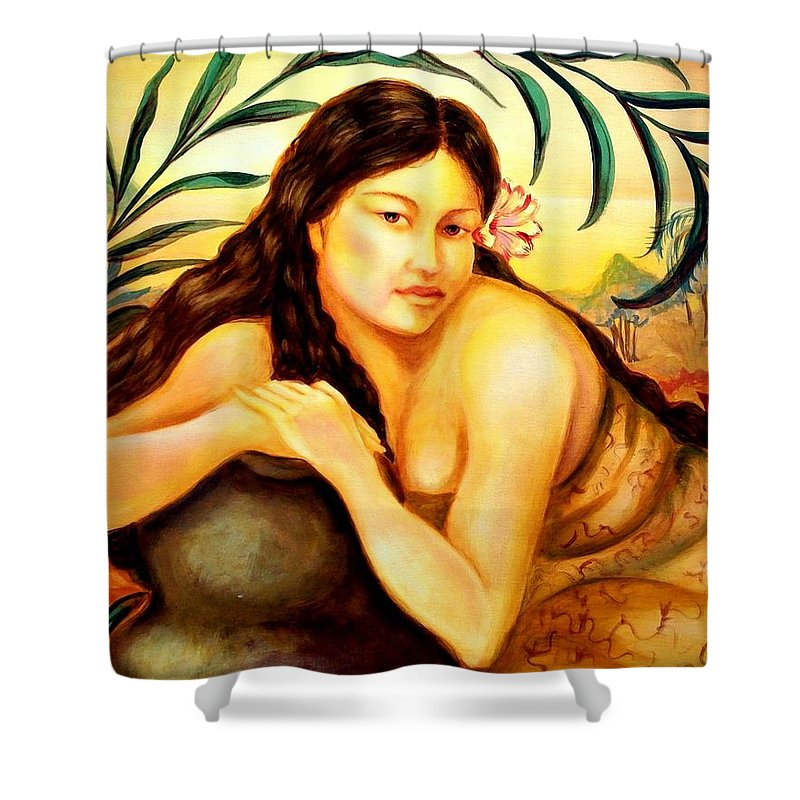 Impressionistic Shower Curtain featuring the painting Hawaiian Girl by Em Scott