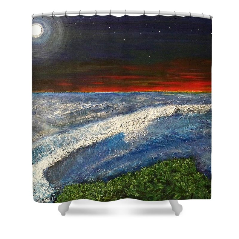 Beaches Shower Curtain featuring the painting Hawiian View by Michael Cuozzo