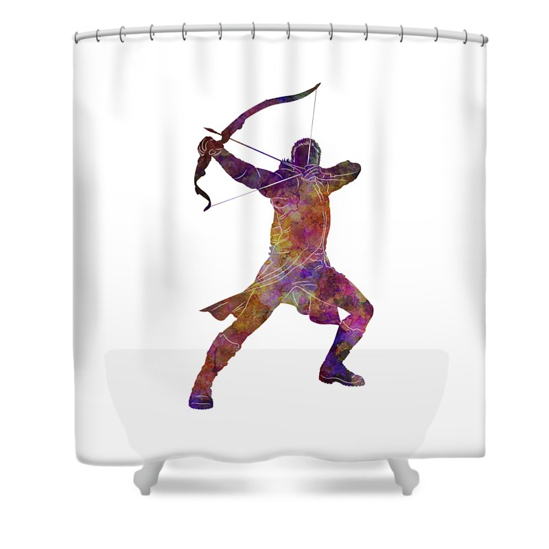 Hawk Shower Curtain featuring the painting Hawk Eye 02 In Watercolor by Pablo Romero