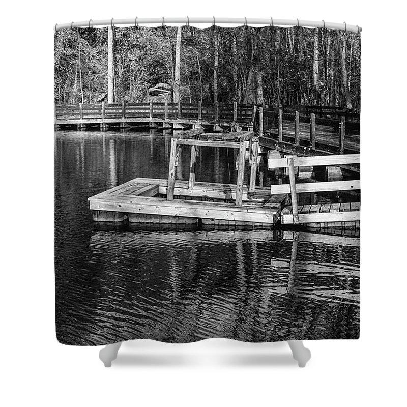 35mm Film Shower Curtain featuring the photograph Hawk Island Michigan Dock by John McGraw