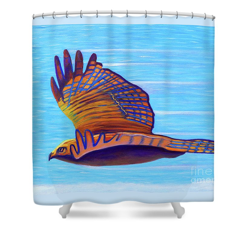 Hawk Shower Curtain featuring the painting Hawk Speed by Brian Commerford
