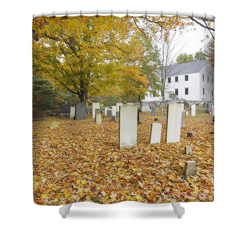 Colonial Meeting House Shower Curtain featuring the photograph Hawke Meetinghouse - Danville New Hampshire by Erin Paul Donovan