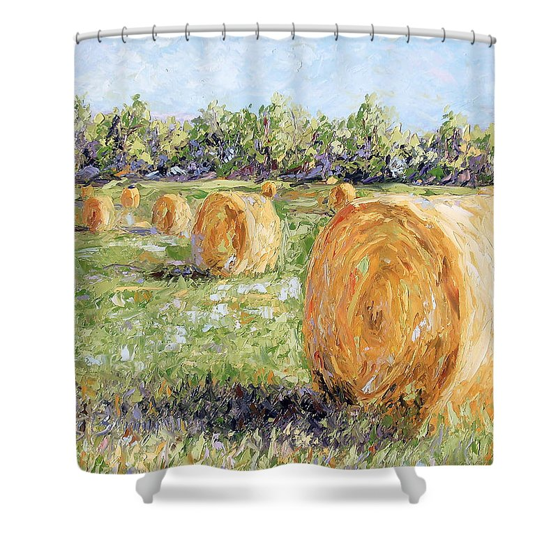 Hay Shower Curtain featuring the painting Hay Rolls by Lewis Bowman