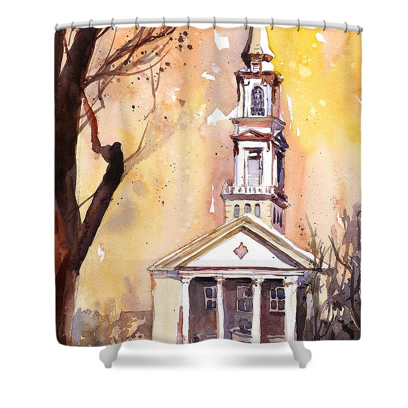 Art Prints Shower Curtain featuring the painting Hayes Barton Church Raleigh Nc by Ryan Fox