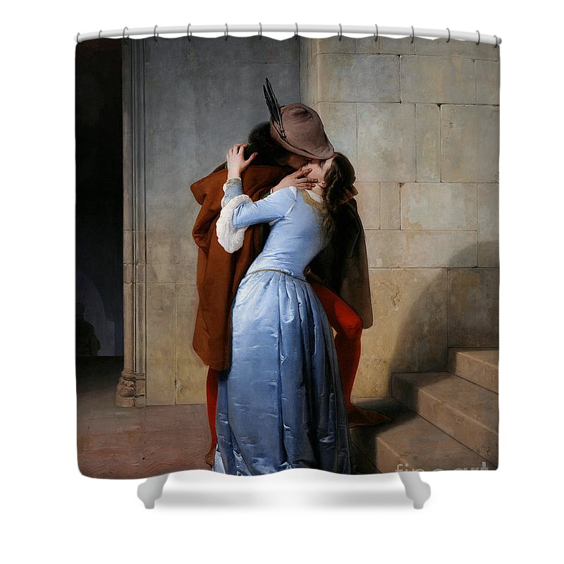 19th Century Shower Curtain featuring the painting Hayez, The Kiss by Granger