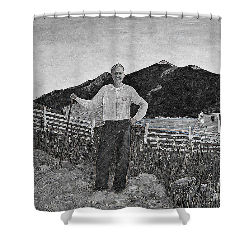 Barbara Griffin Shower Curtain featuring the painting Haymaker With Pitchfork B W by Barbara Griffin
