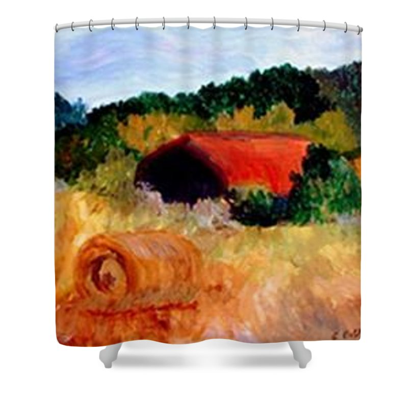 Hayrolls Shower Curtain featuring the painting Hayrolls by Gail Kirtz