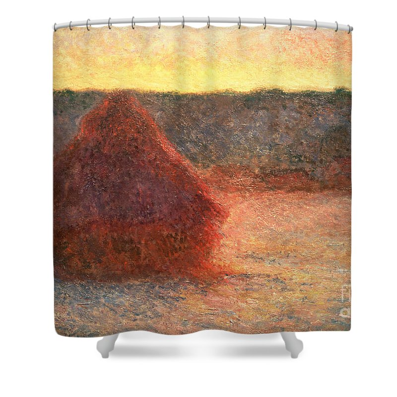 Haystacks At Sunset Shower Curtain featuring the painting Haystacks At Sunset by Claude Monet