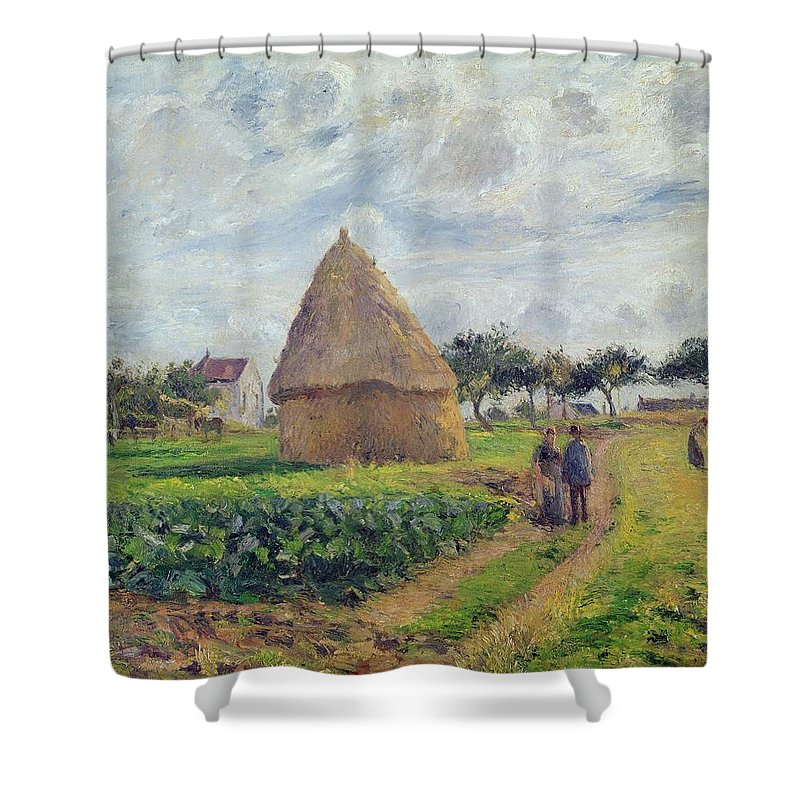 Haystacks Shower Curtain featuring the painting Haystacks by Camille Pissarro