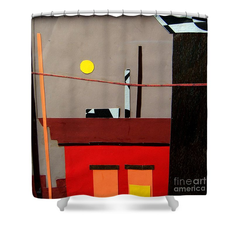 City Shower Curtain featuring the mixed media Hazy Rooftops 2 by Debra Bretton Robinson