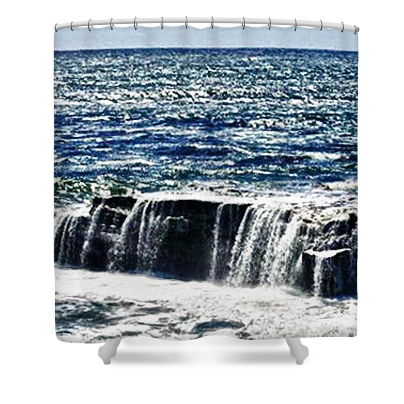 Hdr Shower Curtain featuring the photograph hd 347 The Rock hdr by Chris Berry