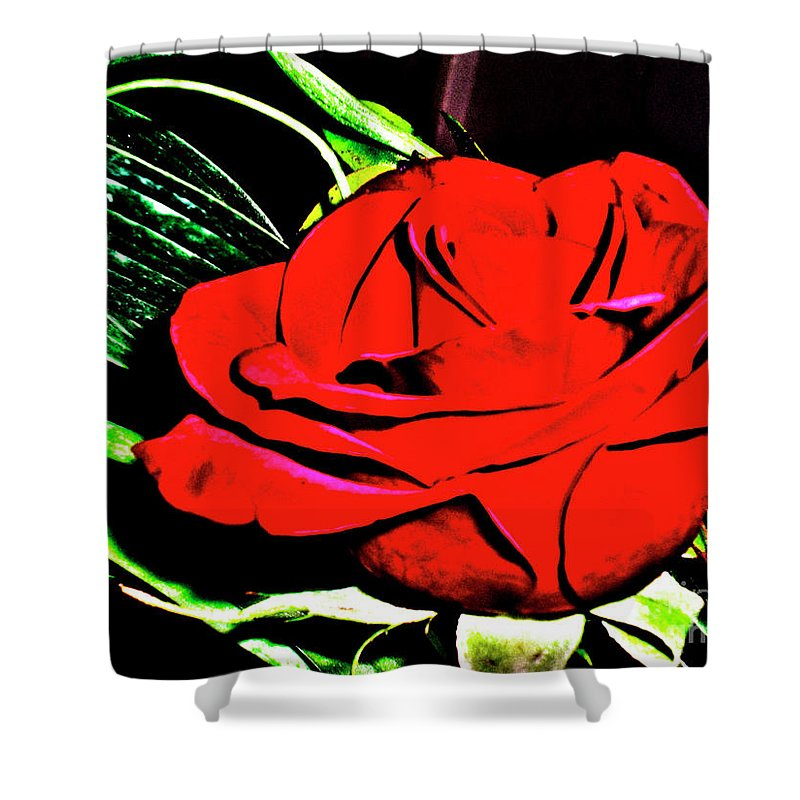 Rose Shower Curtain featuring the photograph hdr 263 - Red Red Rose by Chris Berry