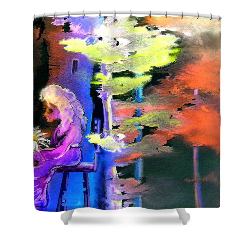Dream Shower Curtain featuring the painting He Loves Me He Loves Me Not by Miki De Goodaboom