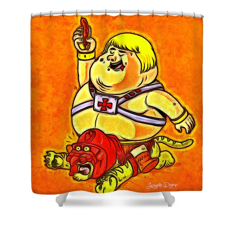 Action Shower Curtain Featuring The Painting He Man By Leonardo Digenio