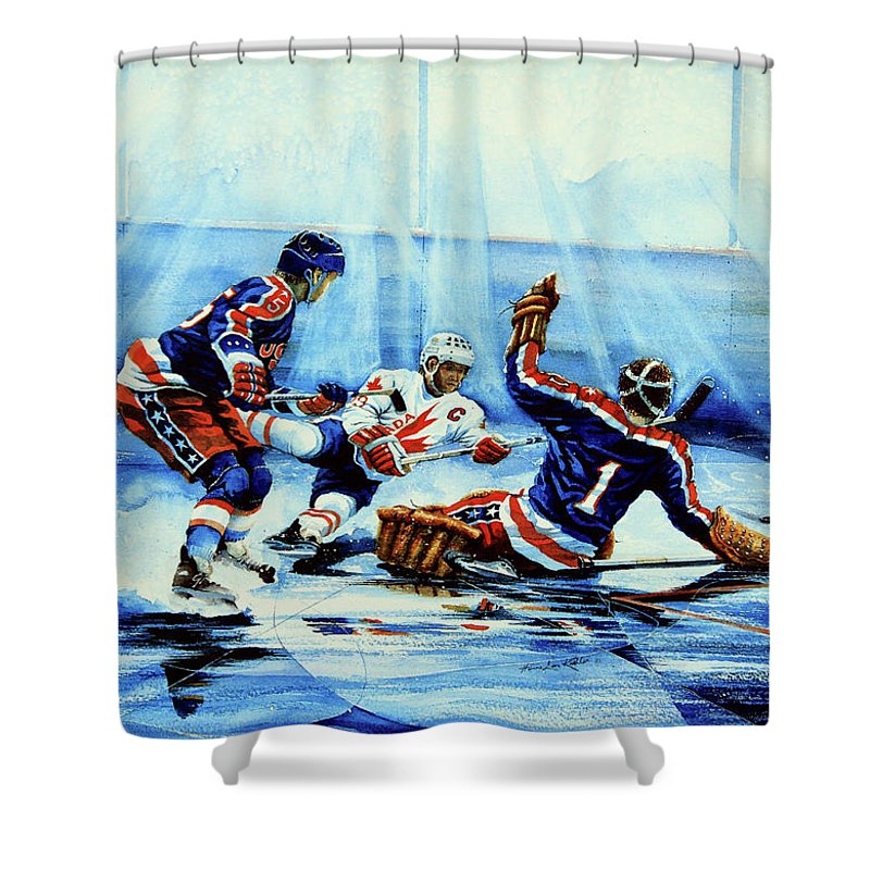 Hockey Shower Curtain featuring the painting He Shoots by Hanne Lore Koehler