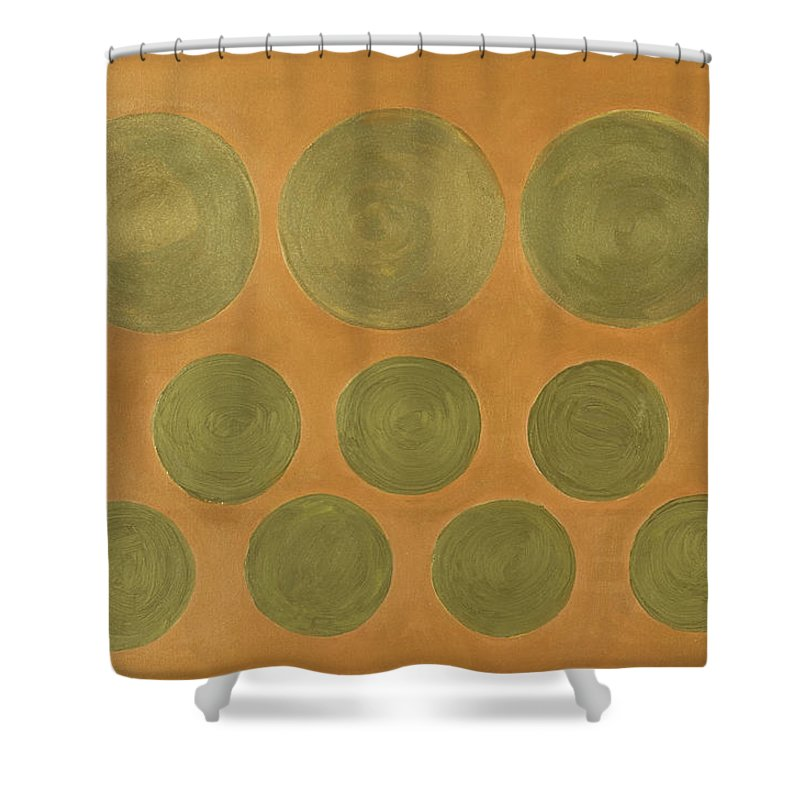 Adamantini Shower Curtain featuring the painting He Tu Metal by Adamantini Feng shui