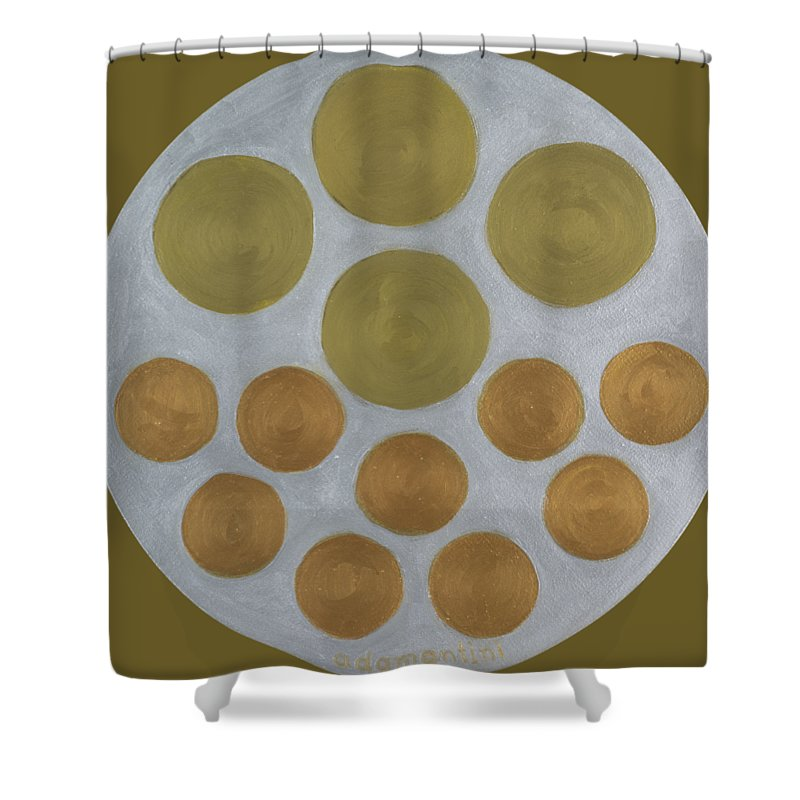 He Tu Shower Curtain featuring the painting He Tu Metal Round by Adamantini Feng shui