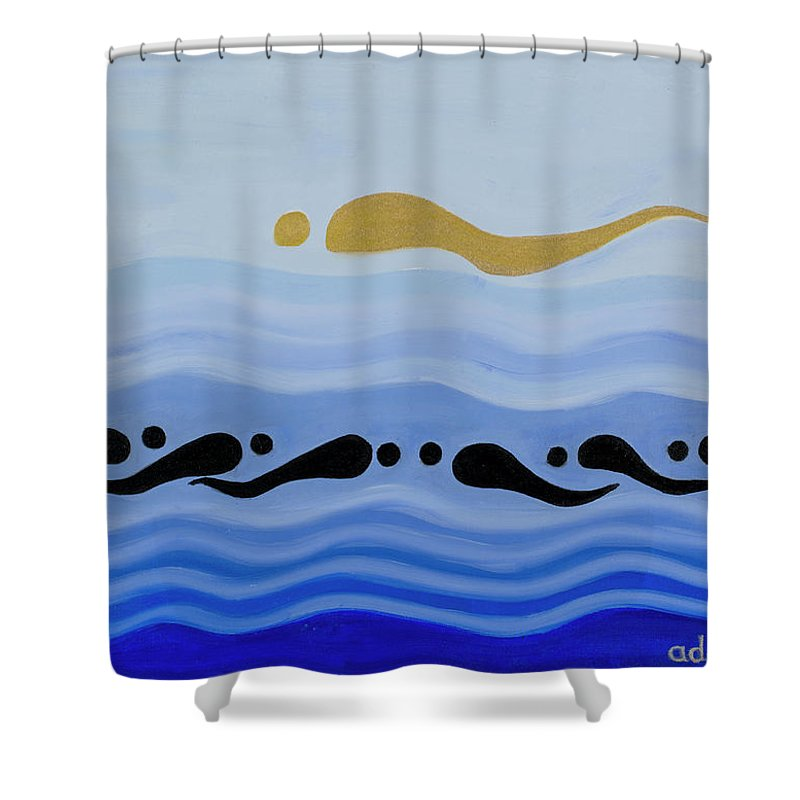 He Tu Water Shower Curtain featuring the painting He Tu Water by Adamantini
