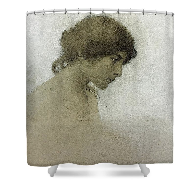 Head Of A Girl (pencil & Chalk On Paper) Female; Portrait; Young Girl; Profile; Drawing; Ethereal Beauty; Sketch Shower Curtain featuring the drawing Head Of A Girl by Franz Dvorak