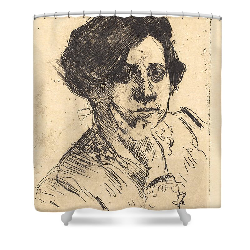 Shower Curtain featuring the drawing Head Of Woman (frauenkopf) by Lovis Corinth