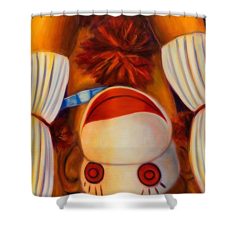 Children Shower Curtain featuring the painting Head-Over-Heels by Shannon Grissom